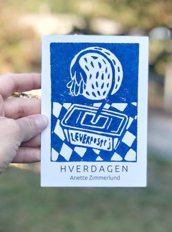 Postkort blå leverpostej natur